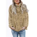 Winter Stand Collar Long Sleeve Faux Fur Half-Zip Sweatshirt