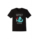 Cartoon WINO Letter Dinosaur Print Round Neck Short Sleeve Tee