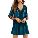 Floral Embroidered V Neck Long Sleeve Velvet Mini A-Line Dress