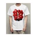 Balloon Clown Print Round Neck Short Sleeve T-Shirt