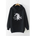 Unicorn Floral Embroidered Long Sleeve Casual Hoodie