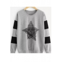 Geometric Print Color Block Long Sleeve Round Neck Pullover Sweatshirt