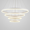 Satin White Multi Light Pendant Aluminum 4 Light/5 Light Orbicular Pendant Adjustable Hanging Light Large Halo Chandelier for Foyer Hotel Hall Bar