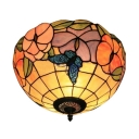 Multi-Colored Tiffany Style Bowl Shaped Flush Mount Ceiling Light with Butterfly and Beautiful Flower Pattern