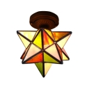 Creative Tiffany Star Shape Colorful Semi-Flush Ceiling Light with Bronze Canopy 2 Designs for Option