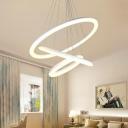 24/60/108W, 3000K/4200K/6500K LED Ambinet Light Wheel LED Chandelier Sand White 1/2/3 Ring LED Pendant Lighting for Bedroom Hallway Foyer 3 Designs for Option