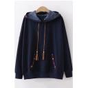 Chic Embroidered Tassel Drawstring Hood Long Sleeve Hoodie