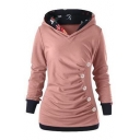 Pleated Detail Button Embellished Long Sleeve Hoodie