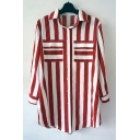 Chic Striped Lapel Collar 3/4 Length Sleeve Button Front Shirt with Double Pockets
