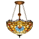 16-Inch Wide Three Light Tiffany Semi-Flush Mount Ceiling Fixture in Victorian Style, Multi-Colored