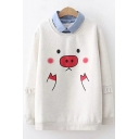 Lovely Contrast Lapel Collar Pig Print Long Sleeve Casual Layered Sweatshirt
