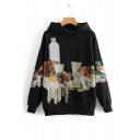 Chic Drawing Print Long Sleeve Loose Hoodie