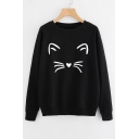 Lovely Heart Cat Print Round Neck Long Sleeve Pullover Sweatshirt