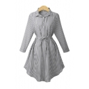 Striped Lapel Collar Long Sleeve Tie Waist Midi Shirt Dress