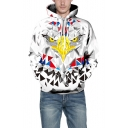 3D Geometric Eagle Print Long Sleeve Loose Hoodie