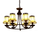 Traditional Style Simple Yellow Glass Empire Shade Chandelier in Black Finish, 6 Lights