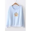 Cat Box Print Round Neck Long Sleeve Pullover Sweatshirt