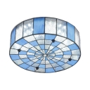 Tiffany Blue and Frosted Glass Checkered Ceiling Light Fixture with Drum Shade 15.75