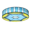 Mediterranean Style Blue&Yellow&Frosted Glass Drum Shape Flush Mount Light for Living Room