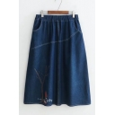 Cartoon Girl Tree Embroidered Elastic Waist Contrast Stitching Midi A-Line Denim Skirt