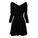 Casual V Neck Long Sleeve Plain Midi A-Line Dress