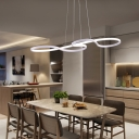 LED Ambient Warm White Architectural Linear Fixture LED Curved Pendant Lights in Black for Bedroom Reception Clothes Stores 3 Sizes for Option