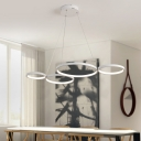Contemporary White Finish Hoops LED Chandelier 60W 3000/4500/6000K 4 Light Large Halo LED Chandeliers for Brilliard Bar Foyer