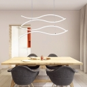 Minimalist 4 Light LED Linear Chandelier White Acrylic 31.50
