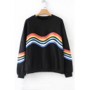 Rainbow Striped Pattern Round Neck Long Sleeve Sweatshirt