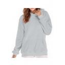 Faux Fur Plain Long Sleeve Relaxed Hoodie with Kangaroo Pocket