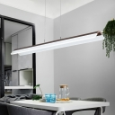 Max 60W LED Warm White Neutral Light Frosted LED Linear Pendant 6 Sizes Available Brown Finish Acrylic Linear Hanging Light for Reading Room Dining Room Kitchen