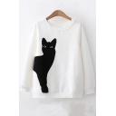 Cat Embroidered Applique Round Neck Raglan Sleeve Pullover Sweatshirt
