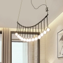 Exclusive Personality Multi Head Glass Sphere LED Chandeliers Black Linear Hanging Light with Metal Chain Decoration for Bar Counter Cafe Restaurant