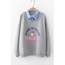 Contrast Lapel Collar Letter Rabbit Print Long Sleeve Pullover Sweatshirt