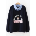 Rabbit BEHAVIOR Letter Print Contrast Lapel Collar Long Sleeve Pullover Layered Sweatshirt