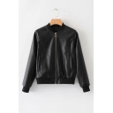 Trendy Stand Collar Long Sleeve Zip Up Baseball Leather Jacket