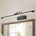 Head Rotating Metal LED Tube Vanity Light 9W-16W Adjustable Warm White Light Arch Arm LED Picture Light in Black for Living Room Bathroom Bedside