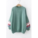 Round Neck Contrast Wave Patch Lantern Sleeve Loose Sweater