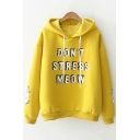 DON'T STRESS MEOW Letter Print Long Sleeve Loose Hoodie