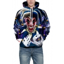 3D Clown Print Long Sleeve Unisex Loose Hoodie