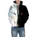 Color Block Wolf Print Long Sleeve Casual Hoodie