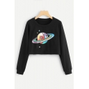 Colorful Drawing Planet Print Round Neck Long Sleeve Cropped Sweatshirt