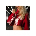 Chic Rabbit Plaid Print Long Sleeve Cropped Hoodie