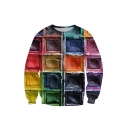 Stylish 3D Colorful Paint Check Printed Crewneck Long Sleeve Hoodie