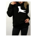French Bulldog Pattern Crewneck Long Sleeve Casual Leisure Pullover Sweatshirt