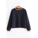 Contrast Rib Knit Trim Mock Neck Long Sleeve Casual Sweatshirt
