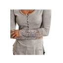 Crochet Patch Button Front Round Neck Long Sleeve Slim T-Shirt