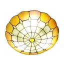 Yellow&White Circular Grid Design Tiffany Flush Mount Ceiling Fixture with Jewels