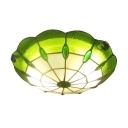 Green Rippled Glass Tiffany Flush Mount Light with Circular Grid Shade