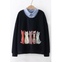 Leisure Contrast Lapel Collar Cartoon Cat Print Long Sleeve Sweatshirt